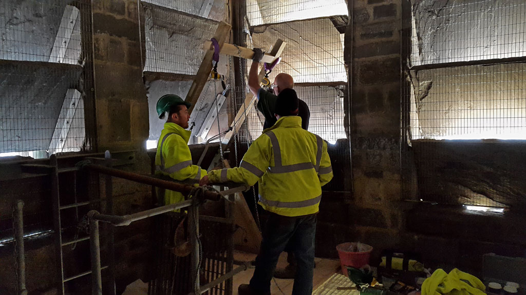 The hoist and tackle are being prepared for Leicester Peregrines at Leicester Cathedral
