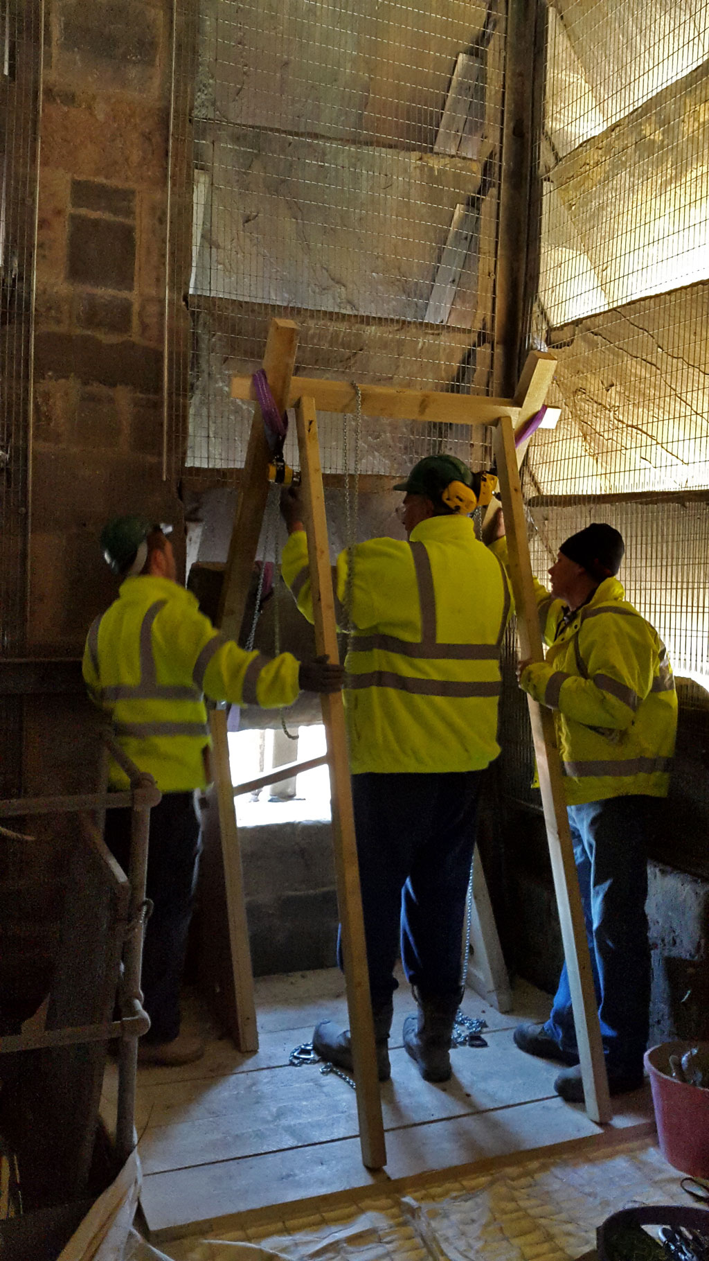 The louvre being lifted out of position for Leicester Peregrines at Leicester Cathedral