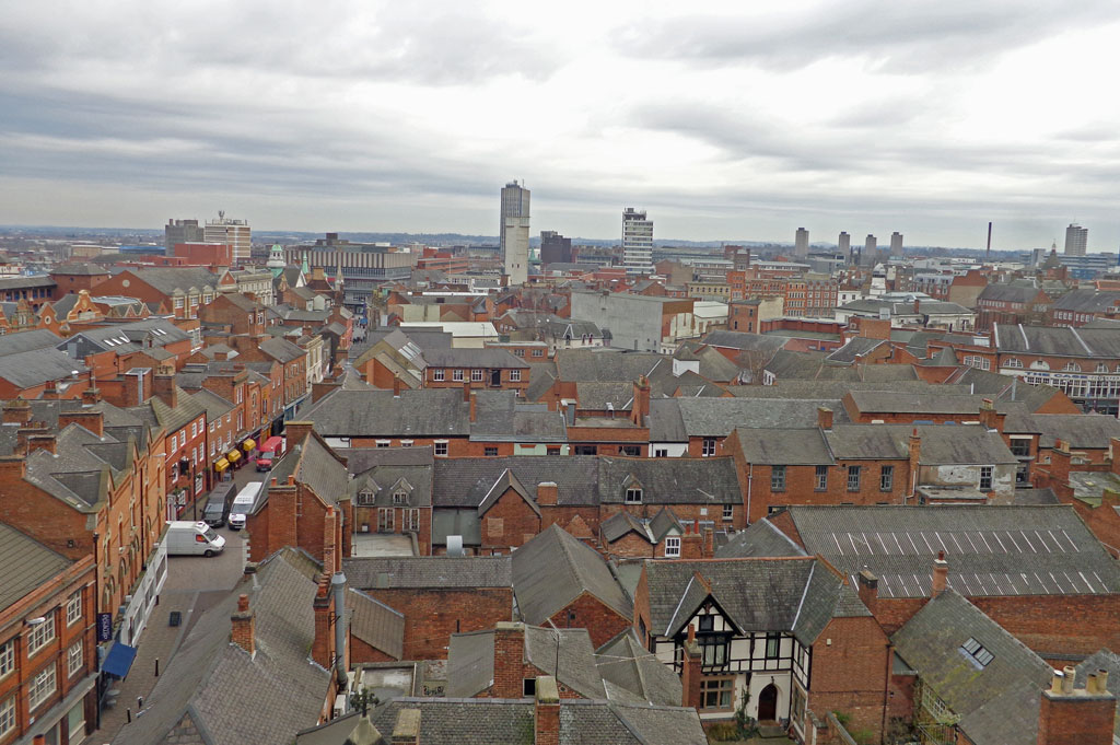 The view from the nestbox looking east over Leicester - Leicester Peregrines at Leicester Cathedral